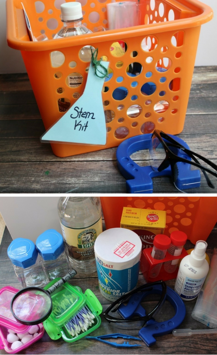 I put together a DIY science kit that is easy and inexpensive for the kids to encourage my little budding scientists at home.