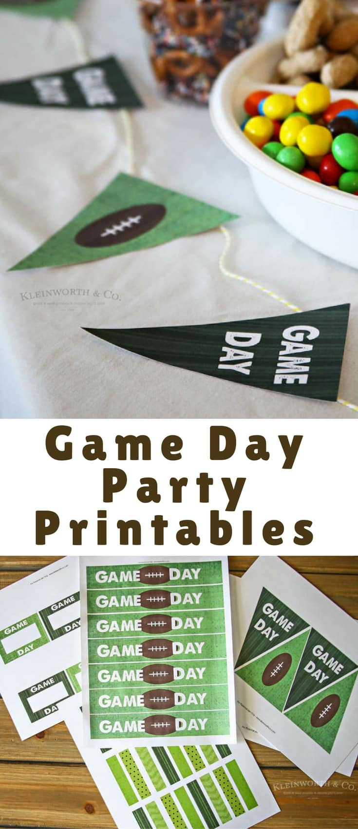 Game Day Party Printables to decorate your kickoff party table! Perfect for die-hard football fans that love all things game day! Just cut, tape & enjoy!