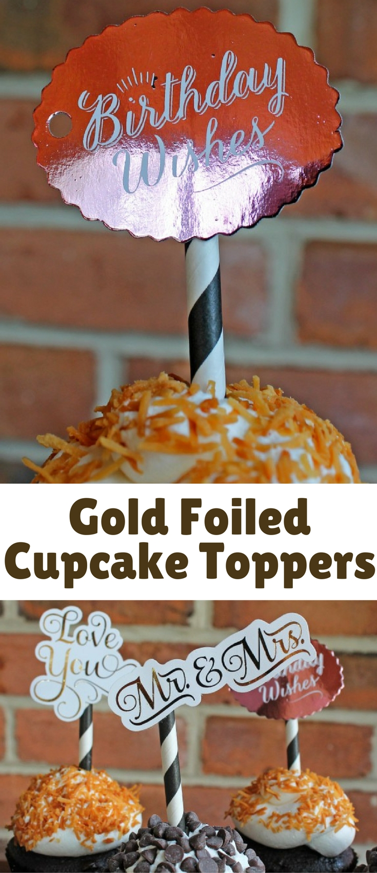 Once you see how easy it is, you will have gold foiled everything!! Cupcake toppers, printables, gift tags, banners… I can't stop!