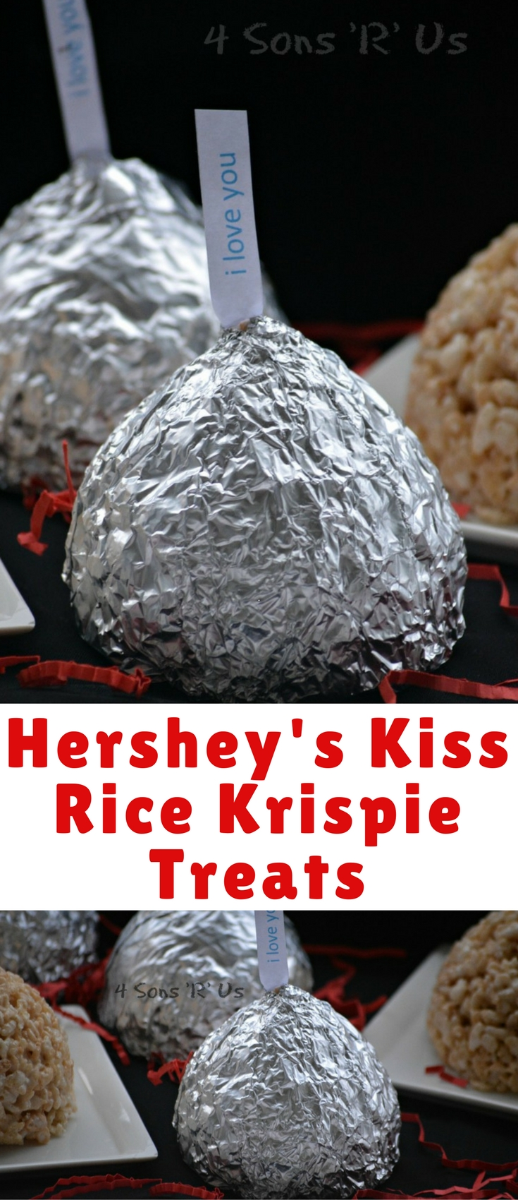 "These adorable SUPER SIZED giant rice krispies Hershey ""Kisses"" are SO incredibly simple and fun, they make perfect Valentine's for kids and adults alike whether it's just because I love you, or as a thank you for teachers or even just as a classroom treat."