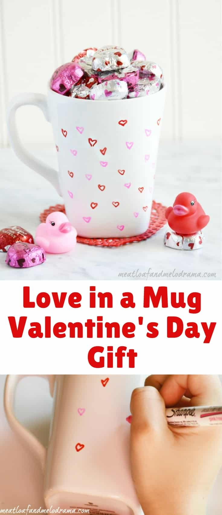 Make this DIY love in a mug Valentine's Day gift with Sharpie markers, candy and a coffee cup.