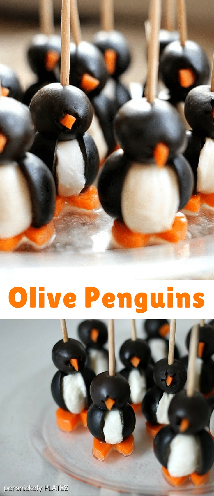 Simple Olive Penguins made with black olives, mozzarella balls, and carrots, are adorable and make a fun appetizer!