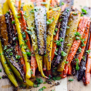 Rainbow Roasted Carrots with Mustard and Cumin Seeds