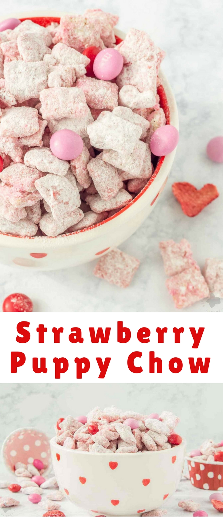 Strawberry Puppy Chow is deliciously sweet, crunchy and highly addictive. A tasty and sweet snack your sweetheart is sure to love!