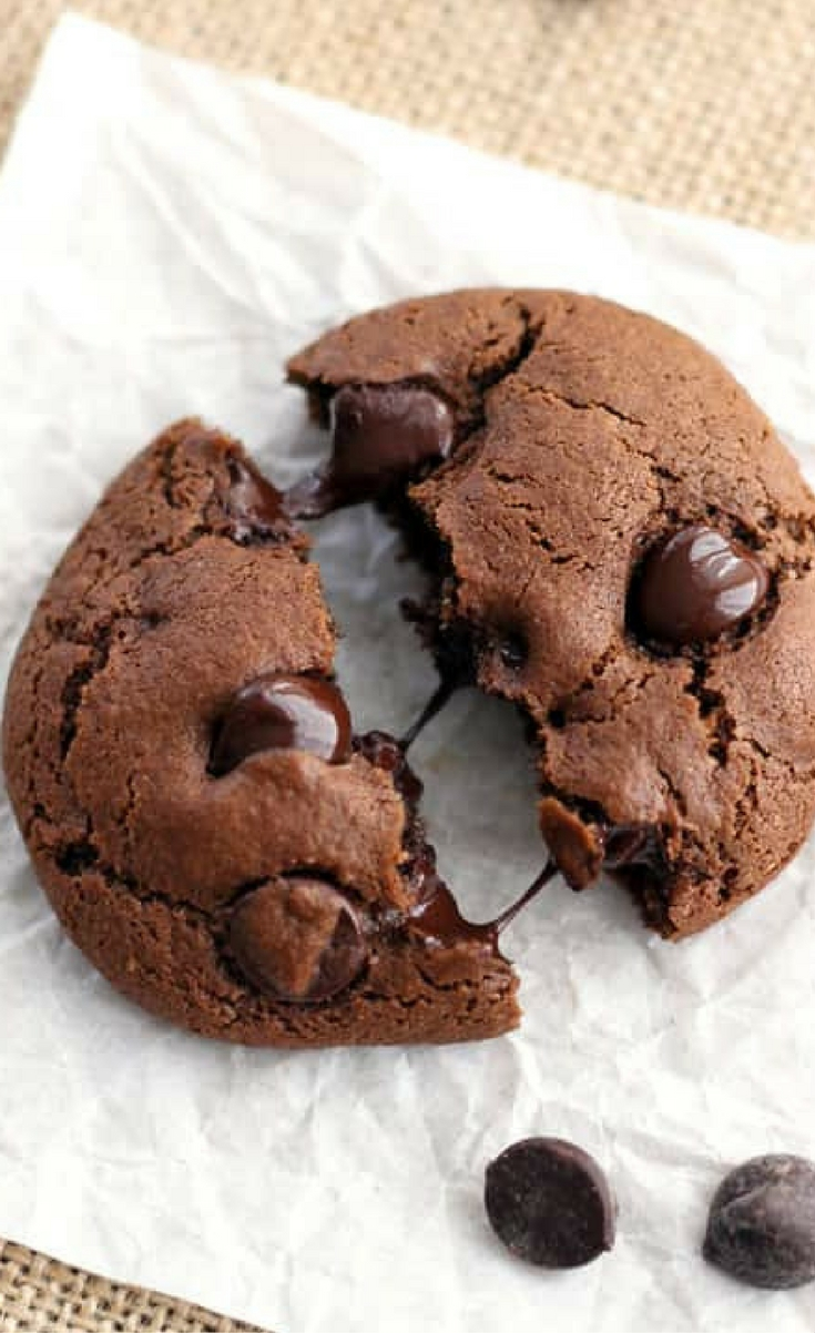 Six splurge worthy brownie-like cookies filled with rich dark chocolate chips. Hey chocolate lovers this Toaster Oven Double Chocolate Cookies recipe is for you!